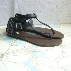 Olsenboye Thong Sandal Black Pewter caged back  8